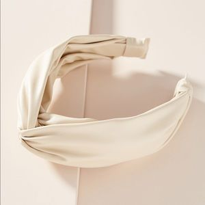 NWOT Anthropologie Ivory Leather Hair Band